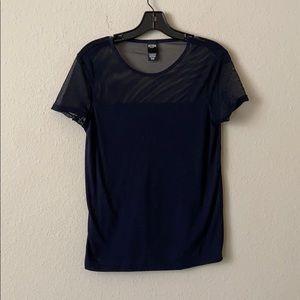 Blue mesh workout shirt